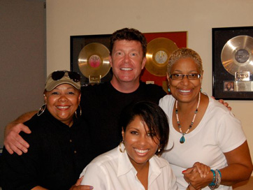 L To R: Ada Dyer, Kevin Osborne, Nicki Richards, Vaneese Thomas. Group Vocal Session For Ronnie Lawson Productions.