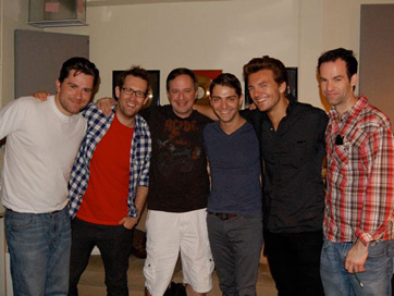 Session For 'The Picture Of Dorian Gray'. L To R: Roger Clark (Lord Henry), Ned Noyes (Basil), Steven Litwitz (Producer), Michael Raver (Writer), Will Connell (Narrator), Quin Gordon (Director). Not Pictured: Lauren Molina (Mrs. Leaf, Singer, Cellist) Kamel Boutros (Piano, Musical Director).