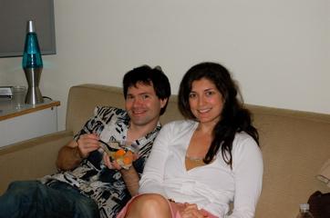 Steve Jabbas And Allison Scola With Fruit Salad.